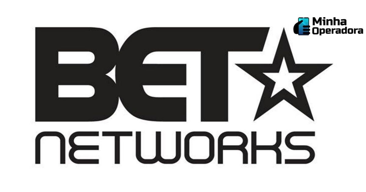Logotipo do BET Networks em preto, com o fundo branco.