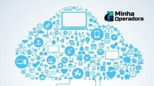 Imagem ilustrativa de uma nuvem com ícones de tecnologia.