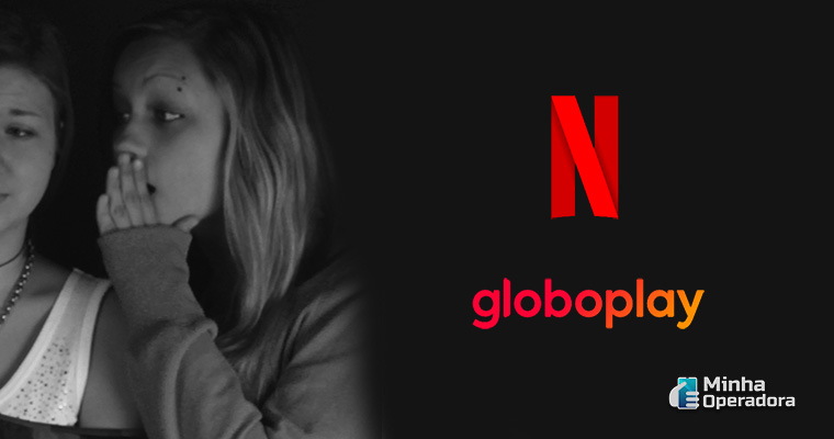 """Ilustração que simula um """"rumor"""", junto com os logotipos do Globoplay e Netflix."""