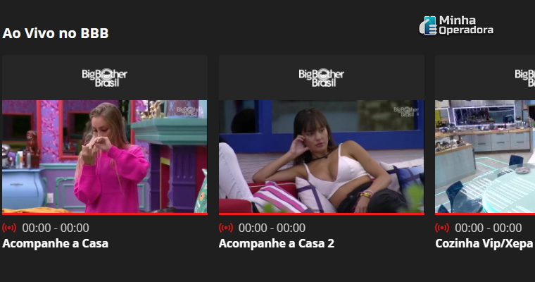 Câmeras do BBB21 no Globoplay