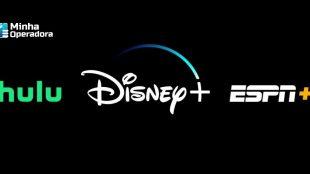 Logotipos do Hulu, Disney+ e ESPN+ em um fundo preto.