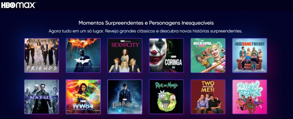 Imagem do catálogo do HBO Max Brasil.