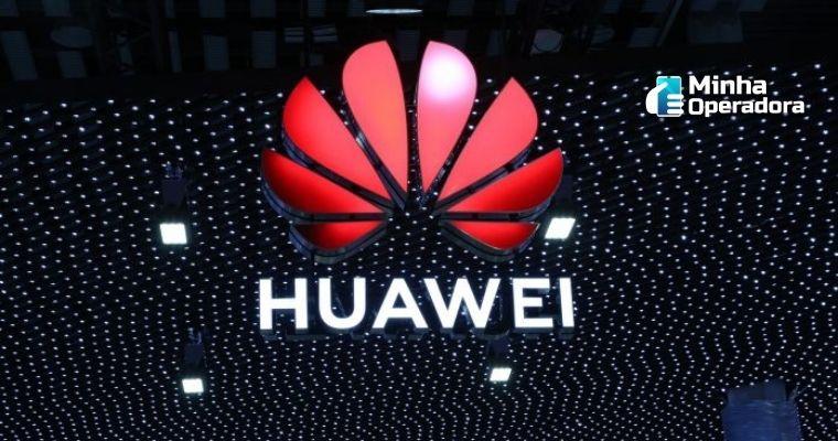 Logomarca da Huawei em um fundo preto com pontos iluminados.