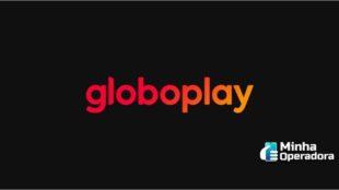 Logotipo da Globoplay em vermelho e laranja com um fundo preto.