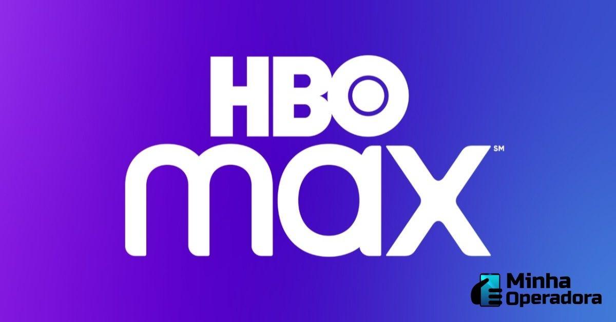 Logotipo da HBO Max em branco em um fundo com tonalidades roxa e azul.