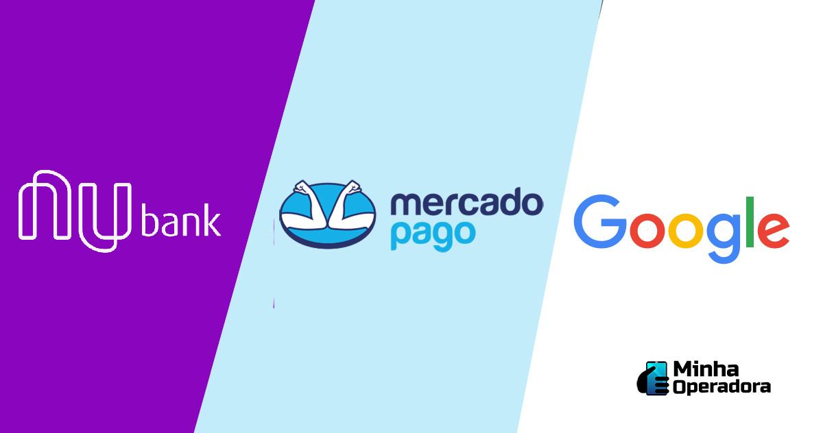 Logotipo Nubank, Mercado Pago e Google (Divulgação)