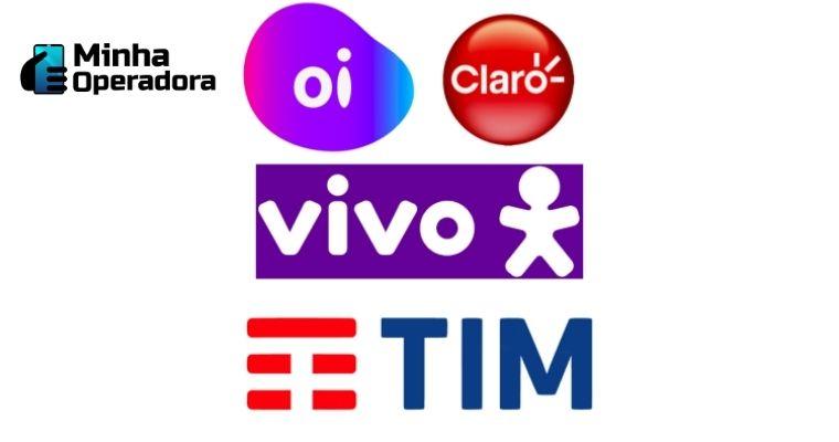 Logotipos da Oi, Claro, Vivo e TIM.