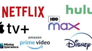 Logotipos de diversas plataformas de streaming em um fundo branco.