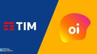 Logotipos da TIM e da Oi, lado a lado, com fundos azul e amarelo, respectivamente.