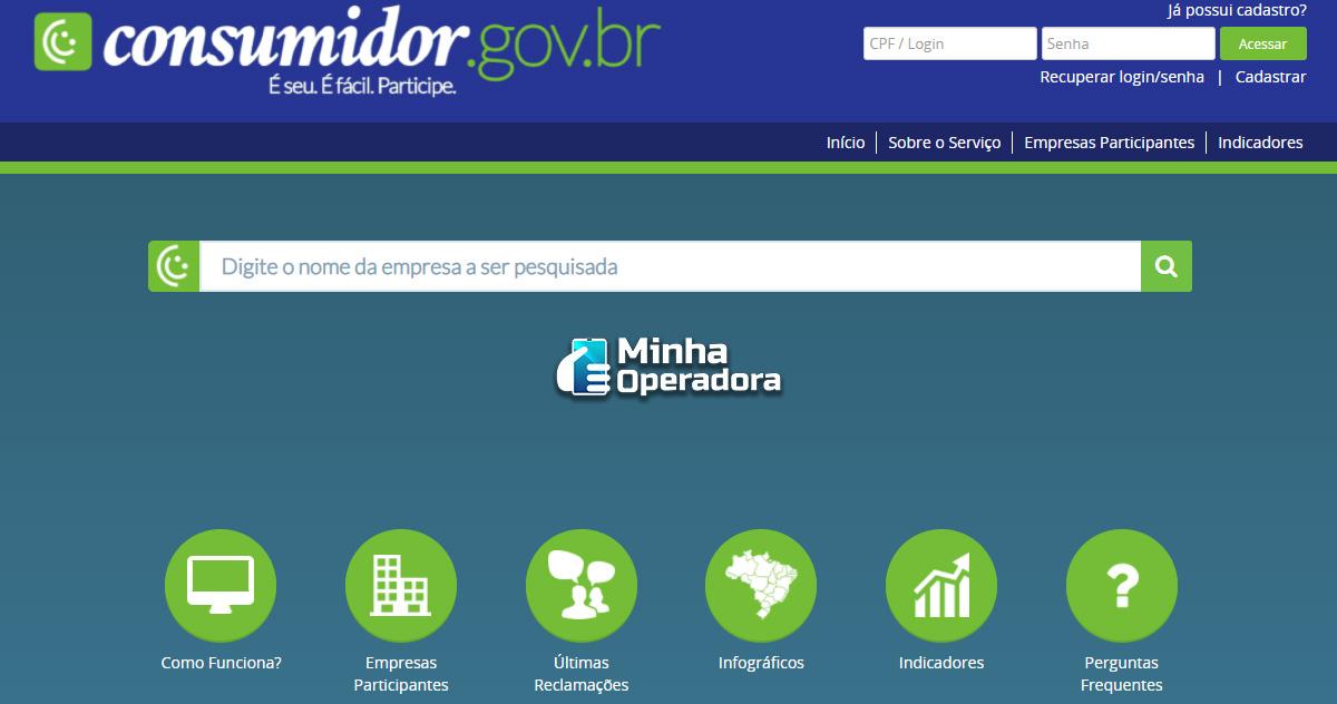 Interface do Consumidor.gov