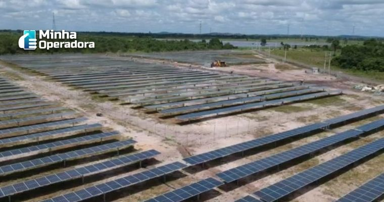 Imagem vista do alto de várias placas de energia solar.