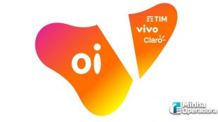 Logotipo da Oi dividido em dois e na parte de cima os logotipos da TIM, Vivo e Claro.