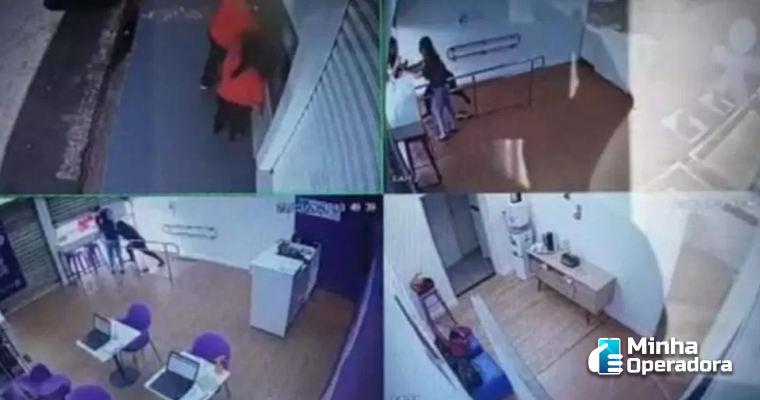 Homem sem máscara tenta invadir à força loja da Vivo