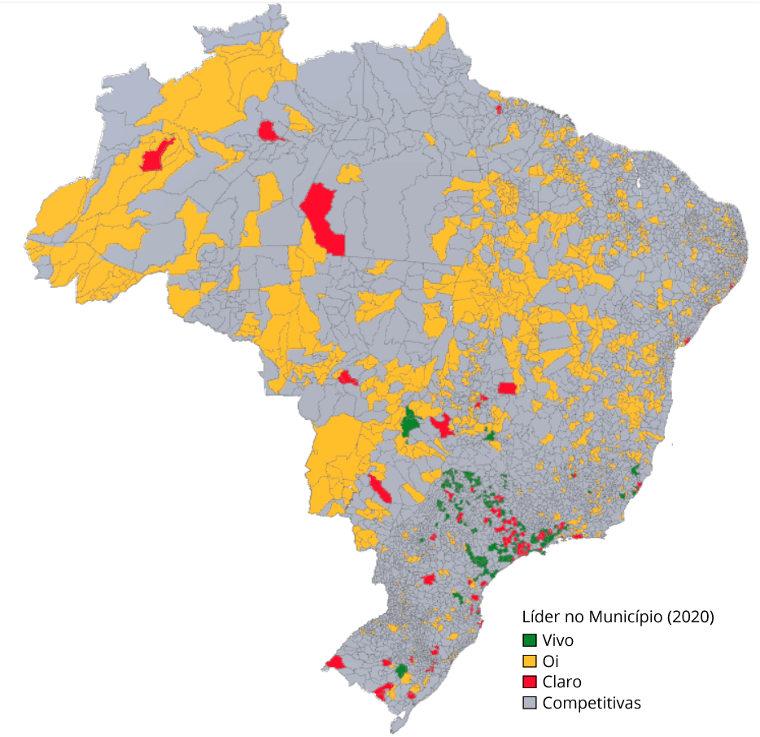 Mapa da liderança no serviço de banda larga no Brasil