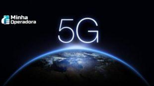 Logotipo do 5G aparecendo como um sol nascente no espaço.