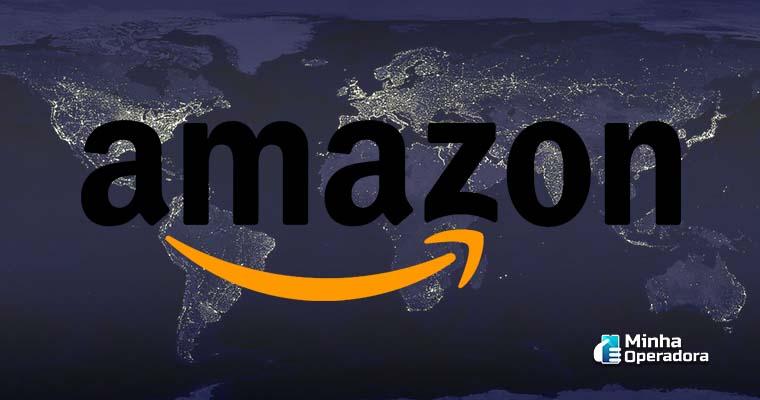 Ilustração satélites com o logo da Amazon.