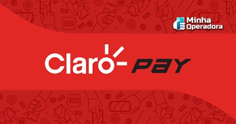 Logotipo do Claro Pay em branco com o fundo vermelho.