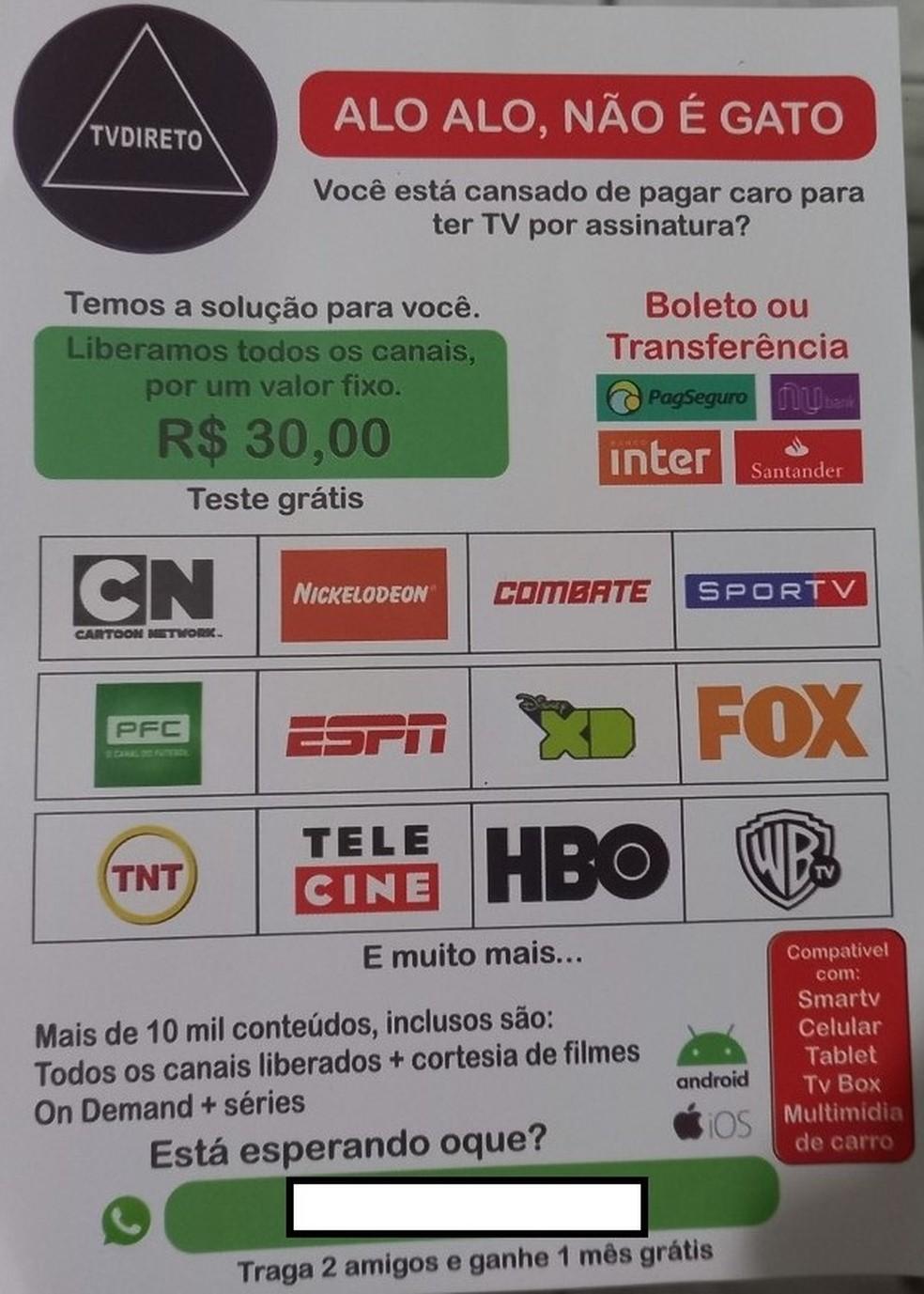 Imagem cedida pela Receita Federal ao G1. Folheto de divulgação de uma IPTV grátis