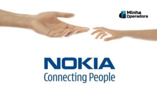 "Logomarca da Nokia com o escrito ""Connecting People"""