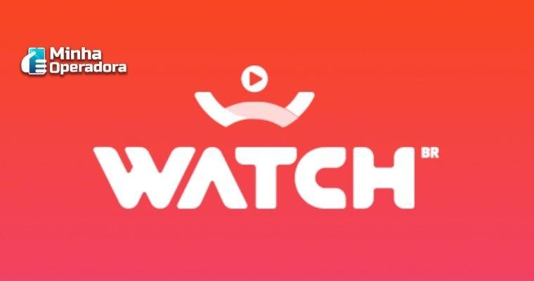 Logotipo da Watch Brasil em branco com o fundo laranja.