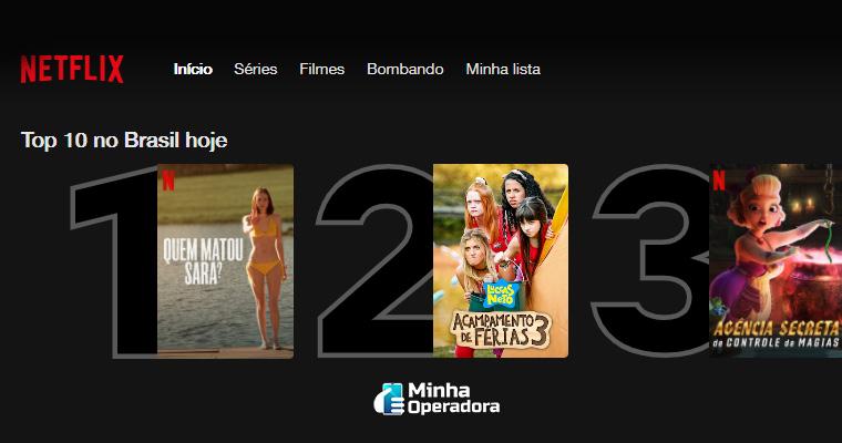 Interface do Top 10 Brasil da Netflix