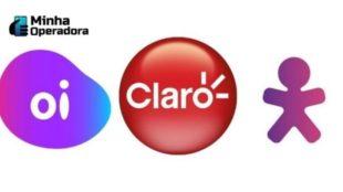 Logotipos da Oi, Claro e Vivo.