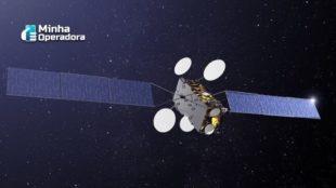 Imagem de um satélite no espaço.