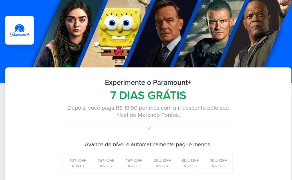 Oferta do Paramount+ no Mercado Livre