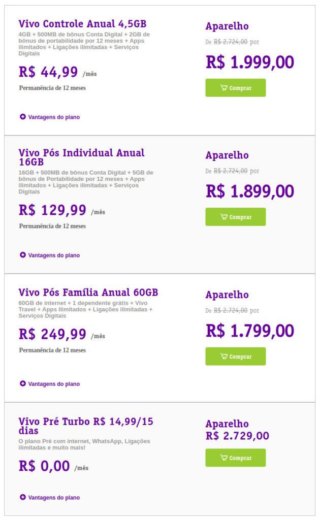 Planos móveis da Vivo na oferta do Galaxy A52 5G