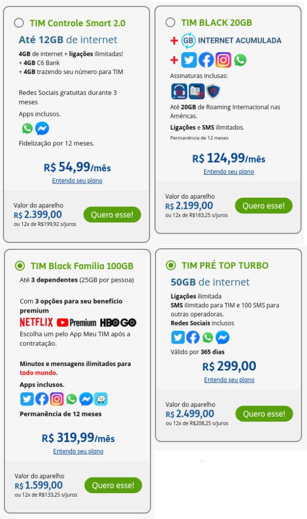 Exemplos de planos móveis da TIM na oferta do Galaxy A52 5G