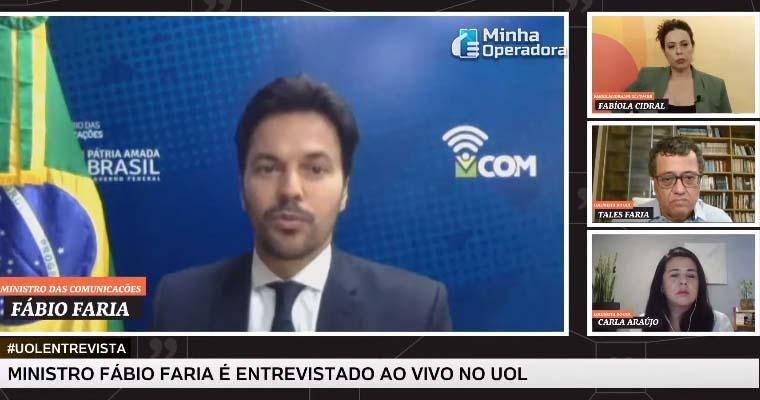 Ministro Fabio Faria em entrevista para o UOL, falando sobre o 5G.