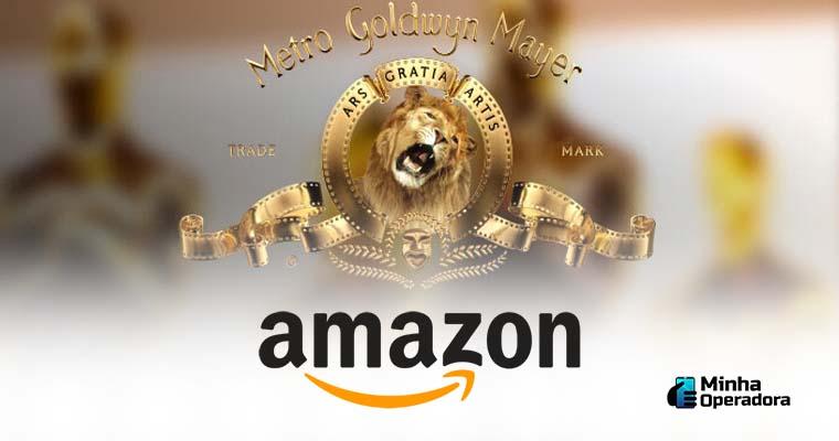 Ilustração simulando a fusão da Amazon com MGM