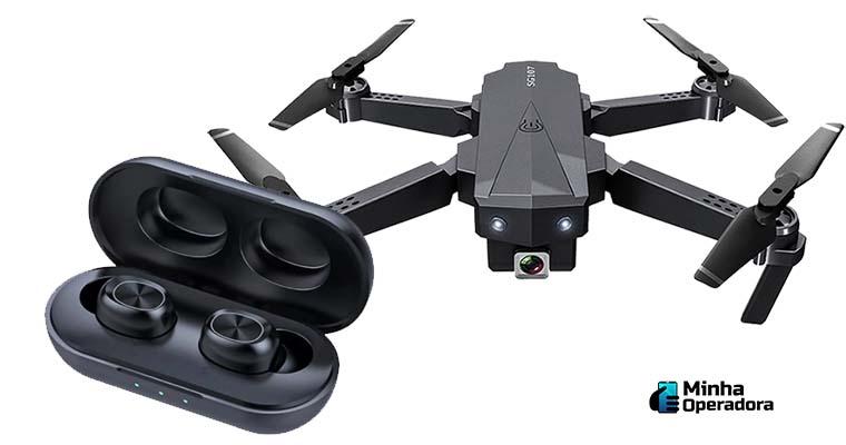 Fone de ouvido Bluetooth e Drone, ofertas do dia.