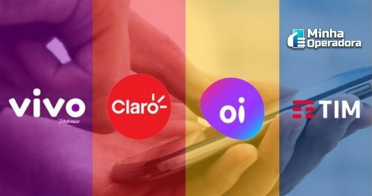 Logotipos da Vivo, Claro, Oi e Vivo.