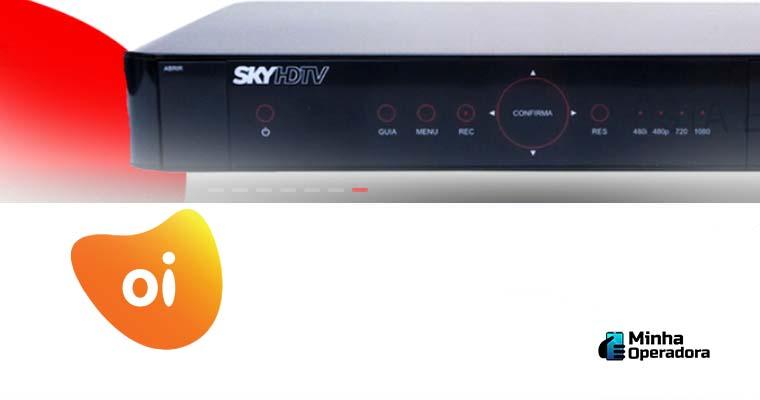 Receptor da SKY com logotipo da Oi abaixo.
