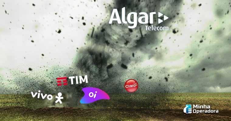 Logotipos das operadoras Algar Telecom, TIM, Vivo, Claro e Oi com ilustração de fundo.