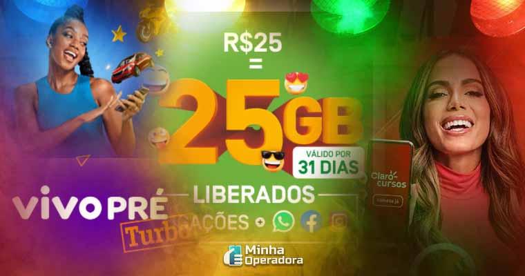 Mix de campanhas do pré-pago das operadoras Claro, TIM, Vivo e Oi. Imagem: Reprodução de tela dos sites oficiais