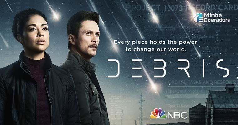 Cartaz da série Debris, lançamento no SKY Play e DirecTV Go.
