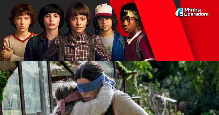Banner da série Stranger Things e cena do filme Blind Box, sucesso da Netflix. Imagem: Divulgação