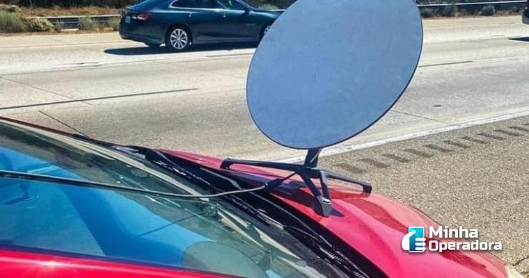 Usuário instala antena da Starlink no carro e é multado