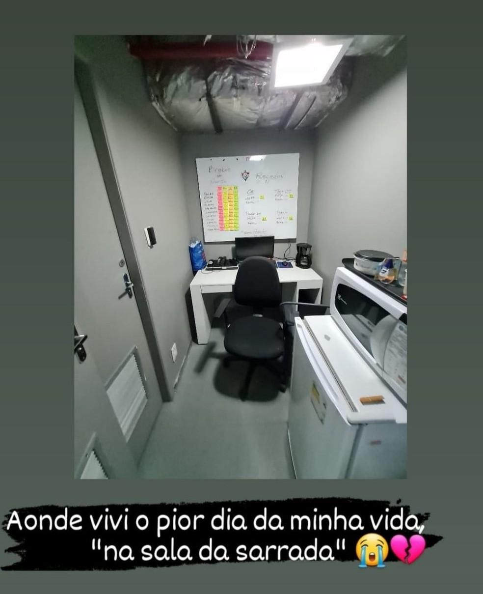 """""""Sala da sarrada"""". Imagem compartilhada pelo G1 e pela vítima no Instagram."""