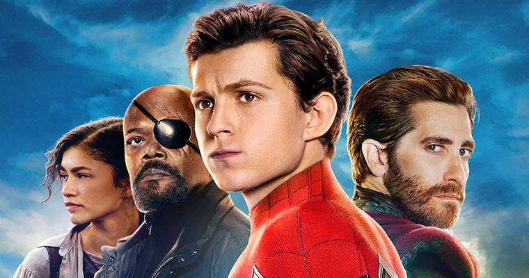 Pôster de Homem-Aranha: Longe de Casa com os protagonistas.