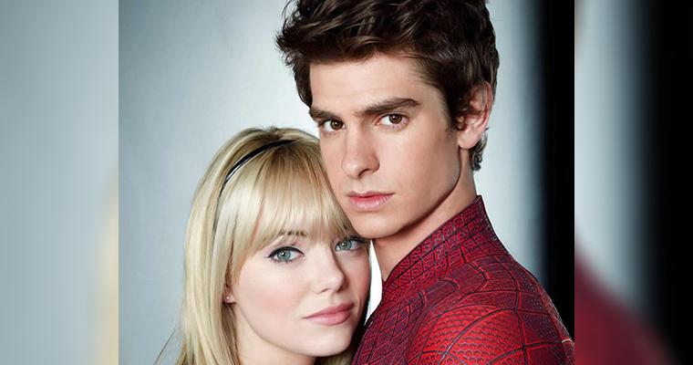 Imagem promocional com os atores Andrew Garfield e Emma Stone.