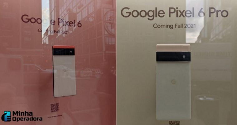 google pixel 6 e pixel pro exposto em vitrine